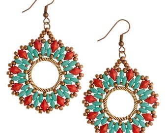 Earrings Kit DiamonDuo Hoop - Turquoise/Red