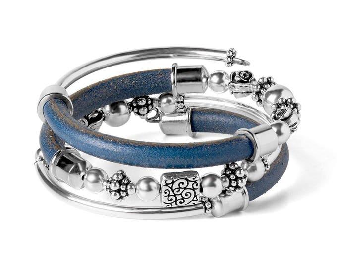 Featured listing image: Free Spirit Leather Wrap DIY Bracelet Kit - Blue