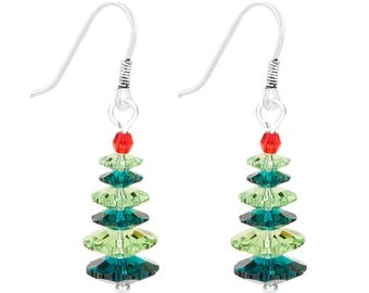 Earrings Kit  Ever Green Christmas Tree with Swarovski® Crystals – Emerald/Peridot