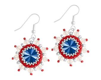 Earrings Kit Arabian Star with Swarovski® Crystals - Red/Blue