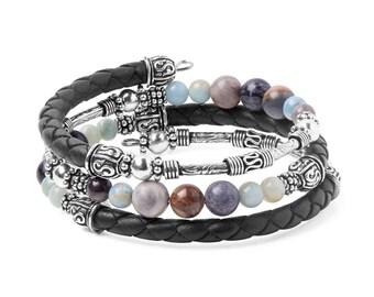 Bracelet Kit Calypso Leather Wrap Bracelet with Gemstones - Black
