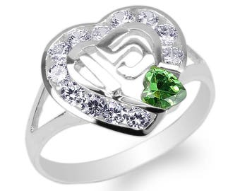 JamesJenny Ladies 10K14K Yellow Gold 15 Anos Quinceanera Purple CZ Heart Ring Size 4-10