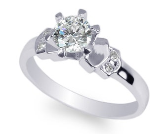 925 Sterling Silver Set 0.9ct Round Simple Fashion Ring Size 4-10