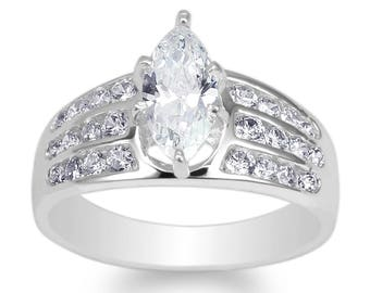 10K White Gold Marquise Sapphire CZ Beautiful Band Ring Size 4-10