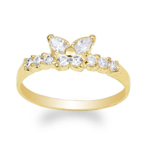 JamesJenny Womens 14K Yellow Gold Butterfly Shaped Band Ring Size 4-10