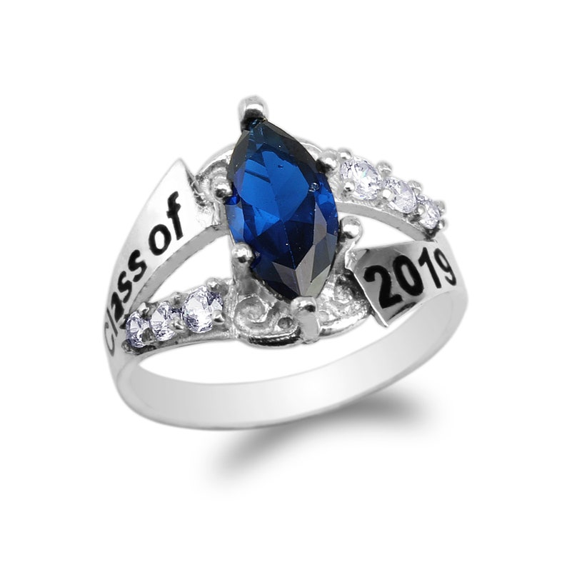 925 Sterling Silver Graduation Class of 2019 School Ring with 1.25ct Marquise Sapphire Blue CZ Size 4-10
