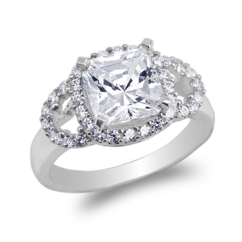 10K 14K White Gold Square CZ Beautiful Design Ring Size 4-10