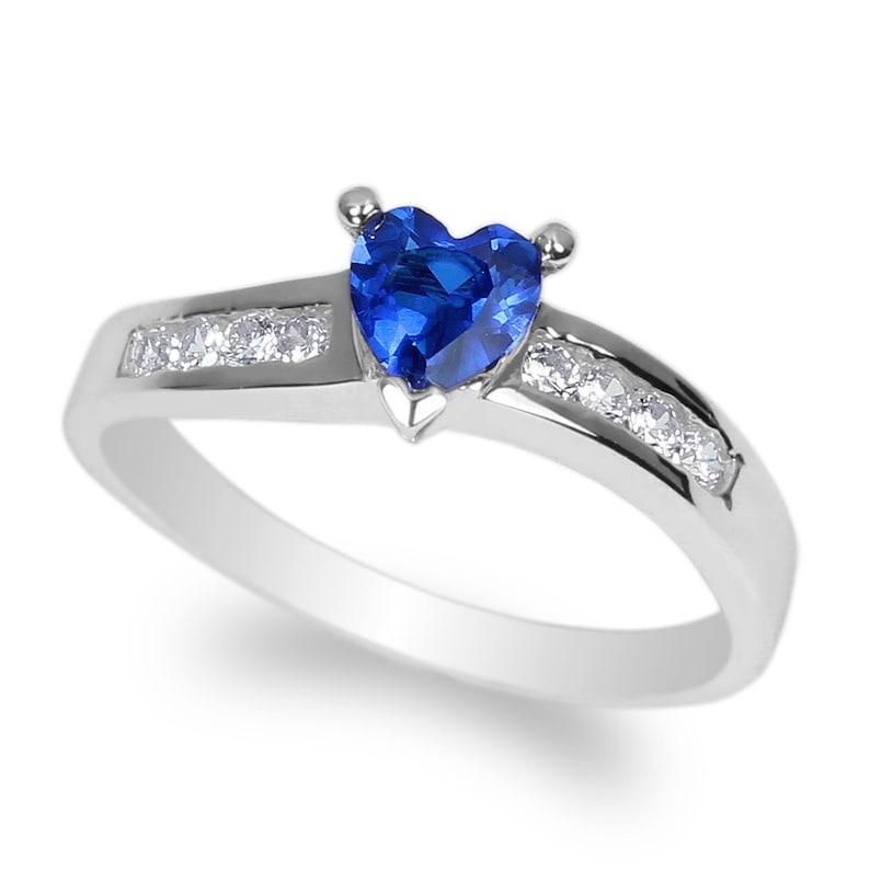 JamesJenny Ladies 10K14K White Gold 0.5ct Heart Blue CZ Twisted Ring Size 4-10