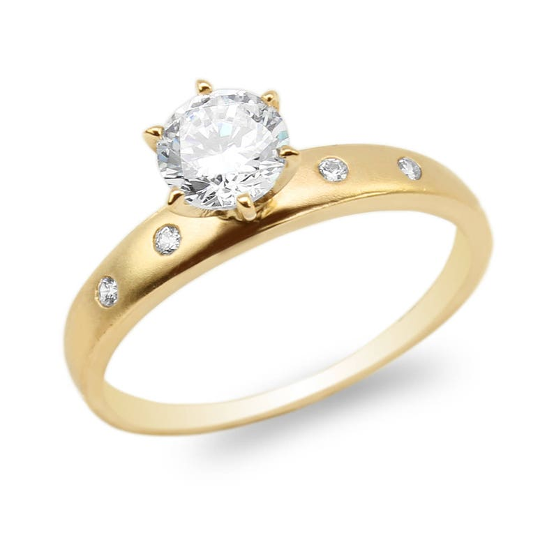 JamesJenny Ladies 10K Yellow Gold 1.2ct Clear Square CZ Solitaire Ring Size 4-10