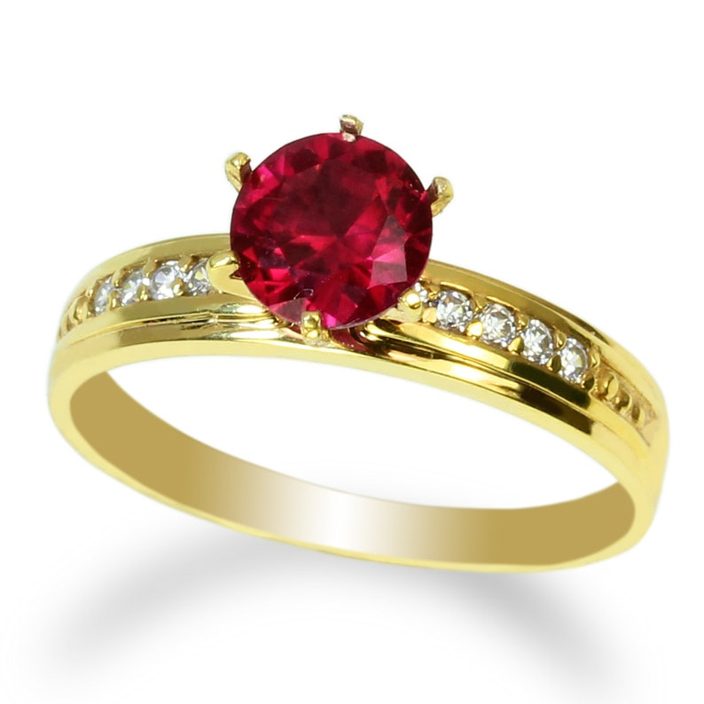 JamesJenny Ladies 10K-14K Yellow Gold 1.0ct Dark Red CZ Fancy Engagement Solitaire Ring Size 4-10