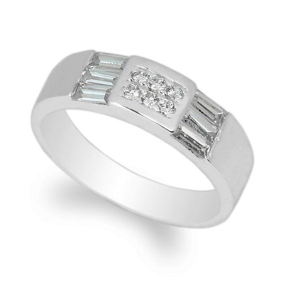 JamesJenny  Mens 10K14K White Gold Wedding Band Ring Size 7-12,