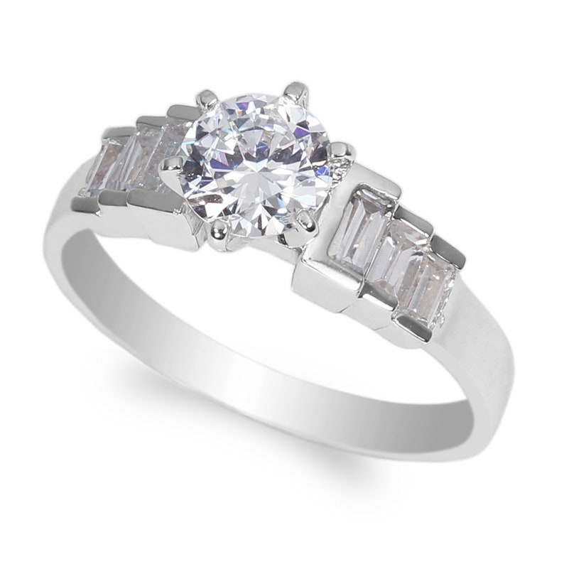 JamesJenny Ladies 10K14K White Gold 0.8ct Round Clear CZ Wedding Solitaire Ring Size 4-10