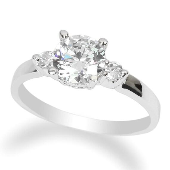 JamesJenny 10K White Gold 0.65ct Round CZ Solitaire Wedding Ring Size 4-10