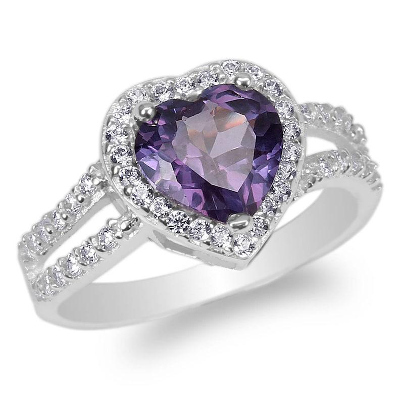 JamesJenny Ladies 10K14K White Gold 1.8ct Heart Purple CZ Halo Beautiful Ring Size 4-10