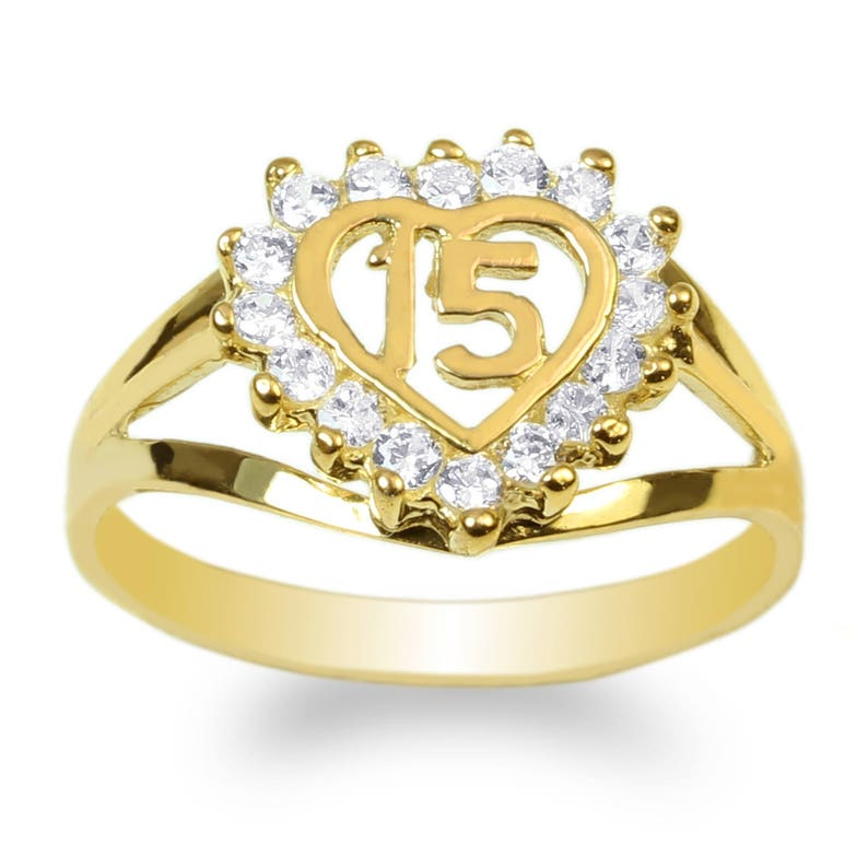 JamesJenny Ladies 10K14K Yellow Gold 15 Anos Quinceanera Beautiful Heart Ring Size 4-10