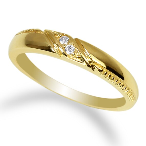 Womens 10K//14K Yellow Gold Two Tone Stylish Wedding Band Ring Size 4-9
