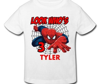 209f0884 Spiderman Birthday Shirt with custom name and age- Personalized Birthday T-  shirtBirthday-1st, 2nd, 3rd, 4th, 5th Birthday - Fast Shipping!
