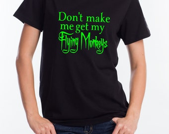 01414e5223 Women's Black T Shirt Flying Monkeys Wicked Witch Of The West Funny Print
