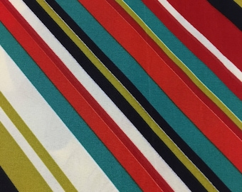 Richloom blue green red white stripe fabric by the yard