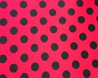 Red fabric with black polka dots no stretch silky feel free shippinga
