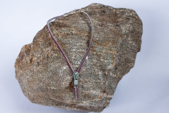 pink /& Fuchsia silver Necklace made of reclaimed zipper necklace with 3 rows of 20