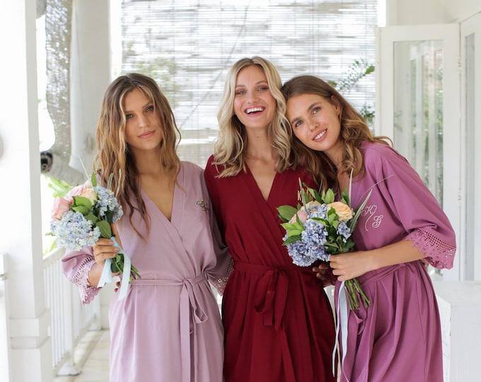 Set of 3 Bridesmaid Robes, Bridesmaid Lace Robes, Lace Bridal Robes, Bridal Party Robes, Lace Robes, Bridesmaid Gifts, Bridesmaid Robe