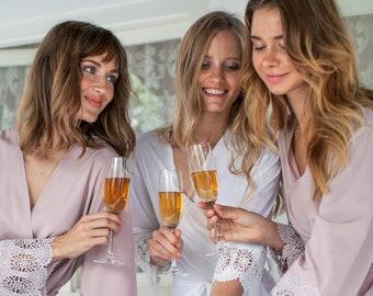 Set of 10 Bridesmaid Robes, Bridesmaid Lace Robe, Bridal Party Robe, Bridesmaid Gift, Bridesmaid Robe, Lace Bridal Robe, Bridesmaid Proposal