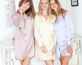 Sleep Shirt // Pyjama Shirt// Bridesmaid Pajama // Bridesmaid Gift //Bridal Gift //Satin pjs//Satin Shirts // Bridesmaid Shirts //Shirt Set