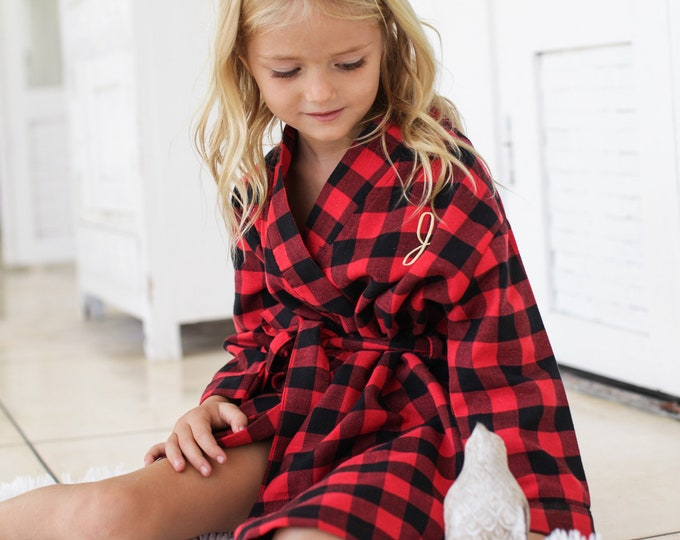 Flower Girl Flannel Robe, Flower Girl Gift, Junior Bridesmaid Robe , Junior Bridesmaid Gift, Kids Flannel, Flower Girl Proposal, Plaid Robe