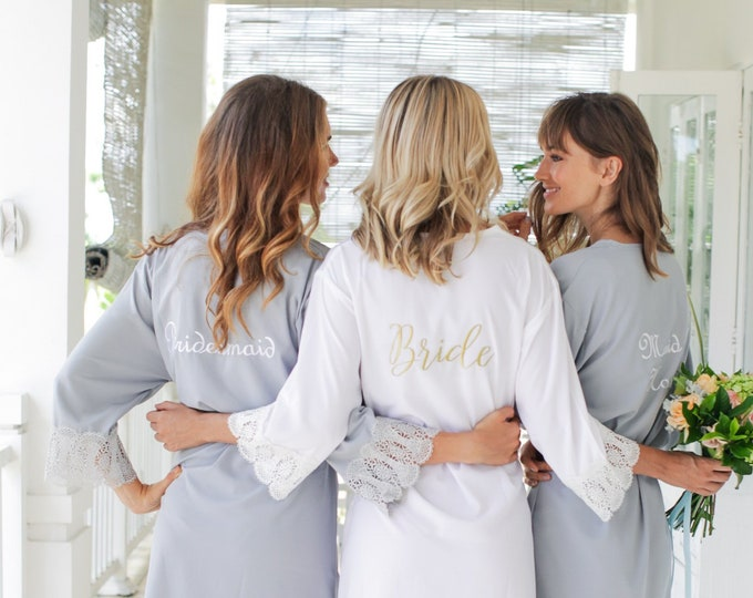 Set of 8 Bridesmaid Robes, Bridesmaid Lace Robe, Bridal Party Robe, Bridesmaid Gift, Bridesmaid Robe, Lace Bridal Robes, Bridesmaid Proposal