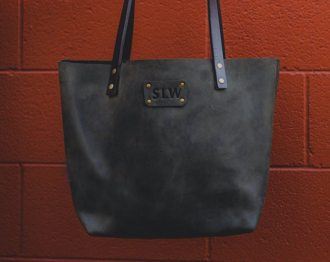 Leather Tote Bag - Leather Gift for Women - Tote Bag - Laptop Work & Student Bag - Personalized Tote Bag - Leather Purse - Monogram