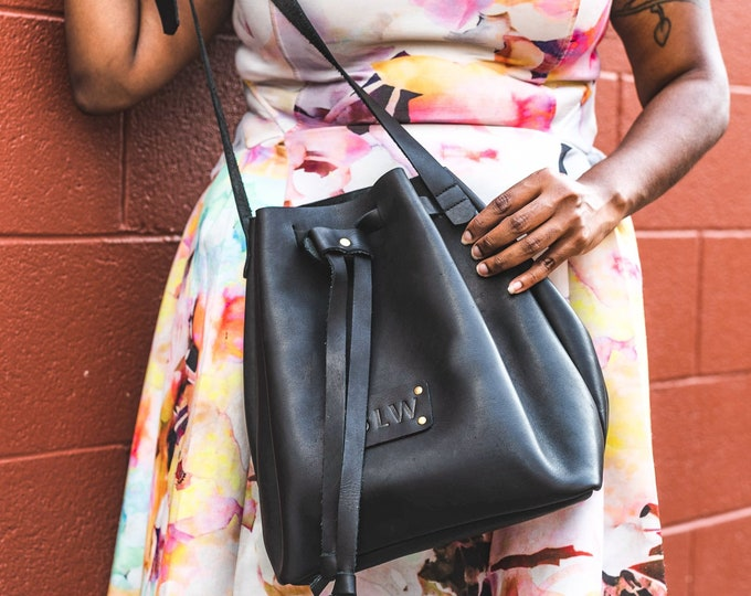 Leather Shoulder Bag - Leather Bag - Leather Purse - Messenger Bags - Purses and Bags - Leather Bucket Bag - Personalized Leather Bag