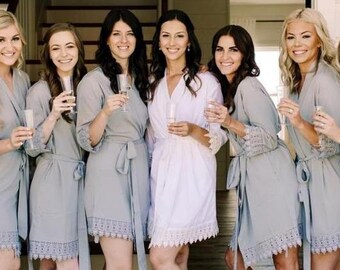 Set of Soft Robes for Bridesmaid Wedding Robes Getting Ready Monogrammed bridesmaid robes Bridal personalized bridesmaid