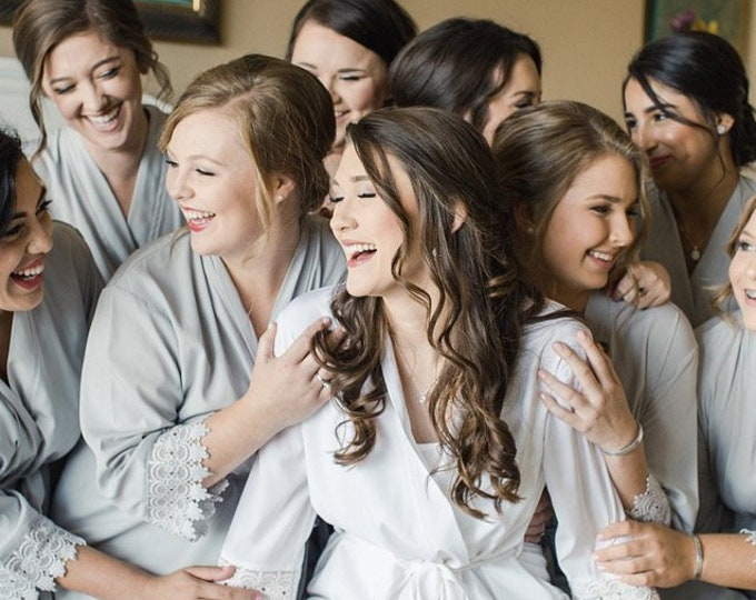 Set of 6 Bridesmaid Robes, Bridal robes, Wedding robes, Lace Robes, Bridesmaid Gifts, Bridal Party Robes, Bridesmaid Lace Robe