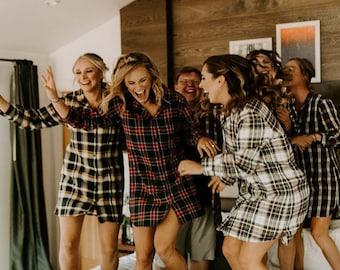 Bridesmaid Shirts, Bridesmaid flannel shirt, bridesmaid plaid shirts, bridal party flannel shirts, flannel sleepshirt, oversized