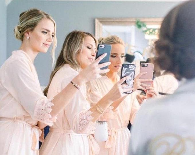 Set of 9 Bridesmaid Robes, Bridal robes, Wedding robes, Lace Robes, Bridesmaid Gifts, Bridal Party Robes, Bridesmaid Lace Robe