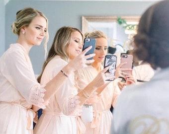 Set of 2 Bridesmaid Robes, Bridal robes, Wedding robes, Lace Robes, Bridesmaid Gifts, Bridal Party Robes, Bridesmaid Lace Robe