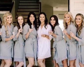 Set of 7 Bridesmaid Robes, Bridal robes, Wedding robes, Lace Robes, Bridesmaid Gifts, Bridal Party Robes, Bridesmaid Lace Robe
