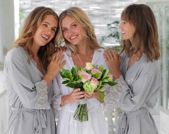 Set of 3 Bridesmaid Robes, Bridesmaid Lace Robe, Bridal Party Robe, Bridesmaid Gift, Bridesmaid Robe, Lace Bridal Robes, Bridesmaid Proposal