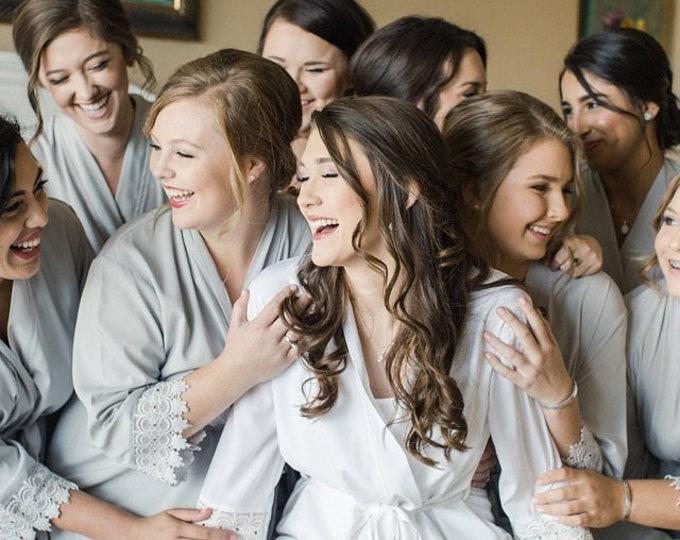 Set of 10 Bridesmaid Robes, Bridal robes, Wedding robes, Lace Robes, Bridesmaid Gifts, Bridal Party Robes, Bridesmaid Lace Robe