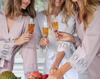 Set of 9 Bridesmaid Robes, Bridesmaid Lace Robe, Bridal Party Robe, Bridesmaid Gift, Bridesmaid Robe, Lace Bridal Robes, Bridesmaid Proposal