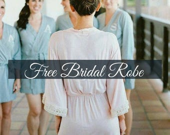 Lace Trimmed Bridesmaid Robes, Wedding Party Robes, Lace Robes, Getting Ready Robes, Wedding Robes, Bridal Robes, Jersey Robes