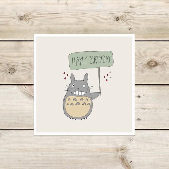 Totoro Birthday Card Etsy