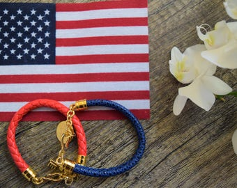Cord Bracelet Red and Blue.
