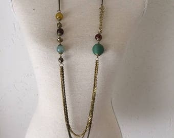 Necklace. Handmade with wooden and glass beads. Bohemian