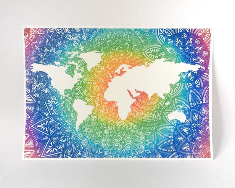 World Map Mandala Art Rainbow Artwork Rainbow Mandala Etsy