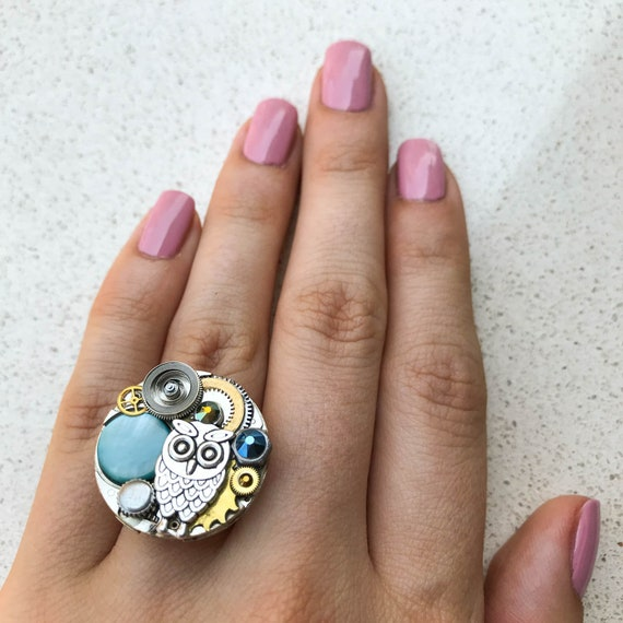 Steampunk Ring, Owl, Watch Movement, Adjustable Size, Cocktail, Mechanical Jewelry, Statement, Women Gift, Blue Swarovski Crystals