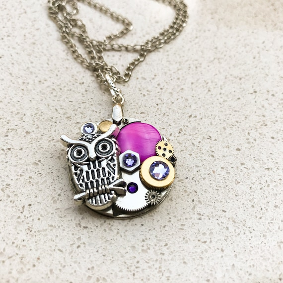 Steampunk Necklace, Owl, Vintage Boho Medallion, Mechanical Jewelry,  Watch Gears, Women Gift, Purple Swarovski crystals