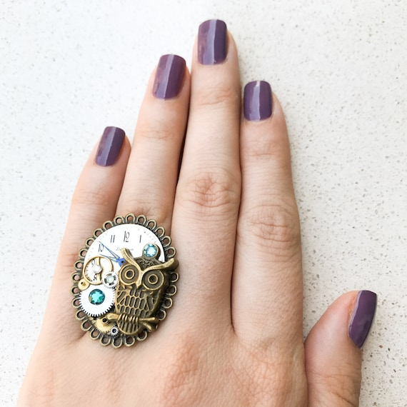 Steampunk Ring, Owl, Watch Gears, Adjustable Size, Cocktail, Mechanical Jewelry, Statement, Women Gift, Aquamarine Swarovski Crystals