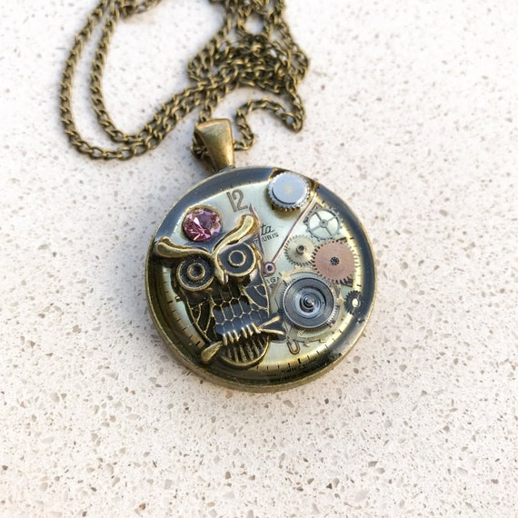 Steampunk Necklace,  Medallion, Owl Pendant, Resin,  Vintage, Boho, Mechanical Jewelry, Statement, Watch Gears, Antiqued Bronze, Women Gift